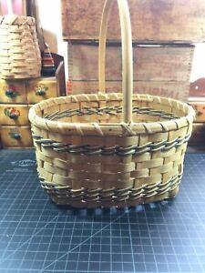 Vintage Primitive Split Oak Hand Woven Basket Decorative Weave