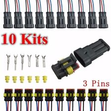 10 Kits 3 Pins Way Sealed Waterproof Electrical Wire Connector Plug Car Auto