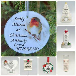 Husband Christmas Memorial Tributes - Xmas Tree Robin Bauble Candle Book Plaque