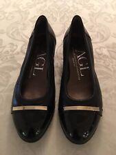 New Attilio Giusti Leombruni Italy Black Leather/Patent Wedge Heel Shoes  36