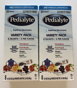2 Pedialyte Oral Electrolyte Solution Powder Variety Pack, Eight 0.3 oz. Packets