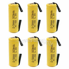 6 pcs 2/3 AAA 2/3AAA Ni-Cd 300mAh 1.2V Rechargeable Battery With Tab Yellow