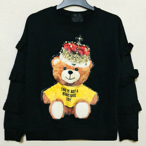 Beautique black cotton pullover with  teddy bear print