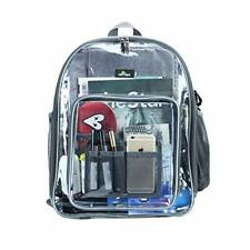 Clear Heavy Duty Backpack, See Through Bookbag for College, Work (Large-Grey)