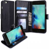 iPHONE 6 6S PREMIUM BLACK PU LEATHER WALLET CASE FLIP COVER w CARD SLOTS STAND