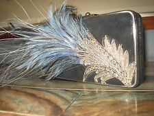 Moo Roo Black Metallic Leather Turquoise Feathers Handbag Purse Clutch