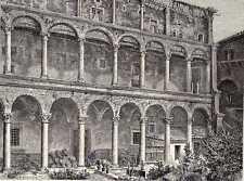 Antique print loggia palazzo piccolomini Pienza 1885
