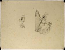 Lithographie originale de Roedel, Amour et Harpiste
