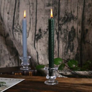 Wedding Candlestick Transparent Crystal Glass Candle Stand Dining Home Decor^qi