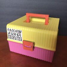 Vtg Sassaby NEW Cosmetics Organizer Swivel Tray Case Makeup Crafts Pink Yellow