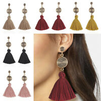 Fashion Women Bohemian Earrings Long Tassel Fringe Dangle Stud Earring Jewelry