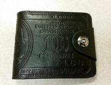 AMERICA BENJAMIN FRANKLIN $100 LEATHER BLACK BIFOLD WALLET CLUTCH SNAP BUTTON