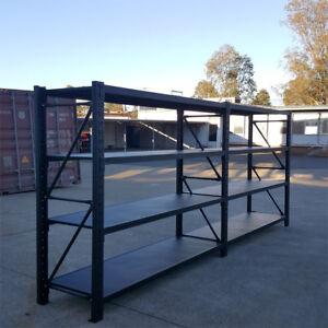3.0M Metal Warehouse Racking Storage Garage Shelving Shelf Shelves - Matte Black