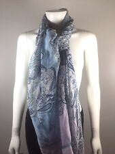 CONTE OF FLORENCE Blue Purple Print Wrap Scarf