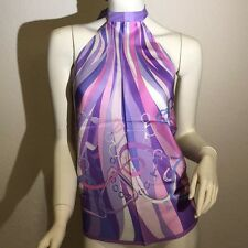 GUCCI lilac Stirrups Belts & Horsebits SADDLERY silk scarf HALTER top NWT