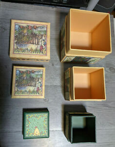 Bob's Boxes SEASONAL HERBS and BIRDSONG Lot Or 3 Nesting Stackable Boxes