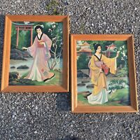 2 Vintage Japanese Paint By Number Oil Paintings Geisha Japan Asian Framed PBN