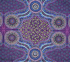 Wild Bush Flowers Purple Aboriginal Australian Quilting Fabric 1/2 metre