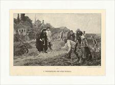 F. Warthmüller. Der König überall Feld Kartoffelernte Kinder Holzstich A 1106