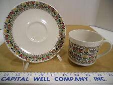 Royal Doulton English Fine China Fireglow TC 1080 Tea Cup & Saucer Set - EUC