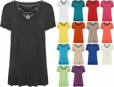Plus Solid Tunic Short Sleeve Tops & Blouses for Women