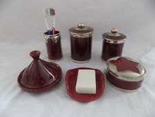 Luxury Burgundy Red Bathroom Vanity Accessories 6 Pieces set Moroccan Pottery