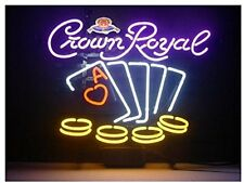 "New Crown Royal Whiskey Poker Beer Lager Neon Light Sign 18""x14"""