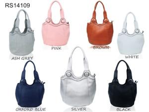 Women Long Handle Designer Tote Shoulder Handbag Reversible Synthetic leather ba