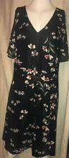Black Floral Stretch Tunic Dress Size 16