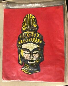"Vintage Batik Buddha Head Taiwan new in package The Art of Batik 14"" x 17"""