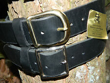 """Handmade Heavy Duty Genuine Leather Belt Men Women 1 3/4"""" Inch wide Brass/Chrome"""