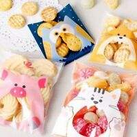 100Pcs COOKIE BISCUIT PLASTIC GIFT SWEET CANDY SELF-ADHESIVE PARTY BAG
