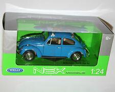 Welly-Vw Volkswagen Beetle + Tabla De Surf (azul) Die Cast Modelo-Escala 1:24