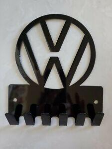 VOLKSWAGON CAR LOGO BLACK GLOSSY METAL KEY KEYS HOLDER RACK FOR WALL