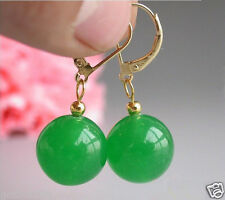 Fashion 14mm Natural Round Green Jade 14K GP Leverback Dangle Earrings