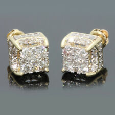 18K Gold Square Cube AAA zircon Stud Earrings for Men Women Jewelry