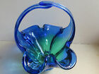 Cobalt Blue/Yellow Hand-blown Glass Basket/ Candy dish with Handle- Heavy