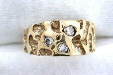 14Kt Yellow Gold Nugget Diamond Ring Gemstone Gem Gemstone Mens Ring Size 9.5