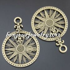 5pcs Vintage Bronze Alloy Hollow Pattern Pendant Charms Findings Crafts 50581