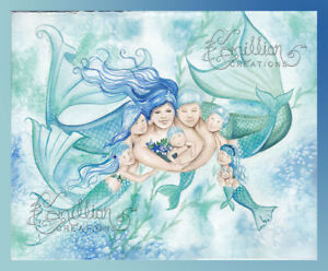 Mermaid Family Print from Original Painting By Camille Grimshaw Mom Dad Son baby