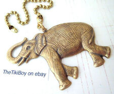 Brass Elephant Ceiling Fan Pull Chain Trunk Up Good Luck Zoo Jungle Decor Metal