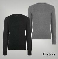 Mens Firetrap Long Sleeves 2 Colour Crew Neck Knit Jumper Sizes from S to XXL