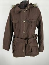 WOMENS NEXT BROWN BELTED PARKA COAT JACKET FAUX FUR HOODED UK 12