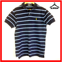 Ralph Lauren Mens Polo Shirt Blue Striped M Medium Cotton Gents Regular Fit