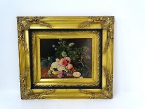 Oleograph Reproduction Floral Flowers Oil Painting Jensen Gilt Frame Roses Displ
