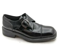 Kenneth Cole Mens Loafer Shoes Black Leather Monk Strap Buckle Cap Toe Italy  10