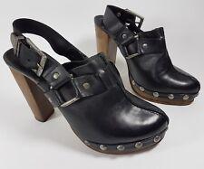 Topshop premium black leather slingback high heels uk 4 eu 37
