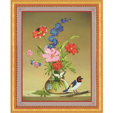 "DIY Ribbon Embroidery Kit Floral Bouquet in Vase and a Bird 35*42CM(13,7""x16,5"")"