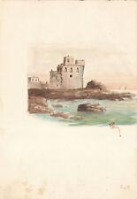 ROCCA SUL MARE - Acquerello Originale 1900 Fortress Sea Seascape