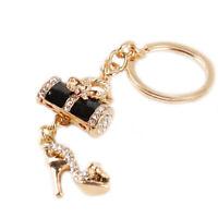 Black Color Crystal Diamante Handbag High Heel Shoe Charm UK Bag Keyring T6G9